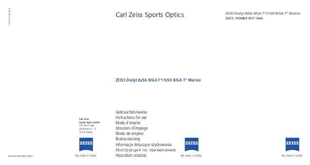 Carl Zeiss Sports Optics Gebrauchshinweise Instructions for use Mode d'emploi Istruzioni d'impiego Modo de empleo Bruksanv...