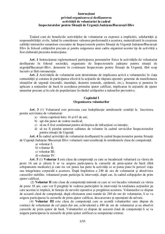 Instructiuni Privind Organizarea Si Desfasurarea Activitatii De Volu