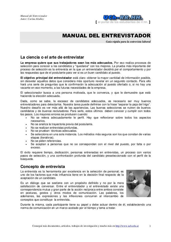 Manual del EntrevistadorAutor: Carina Aballay                                     MANUAL DEL ENTREVISTADOR                ...