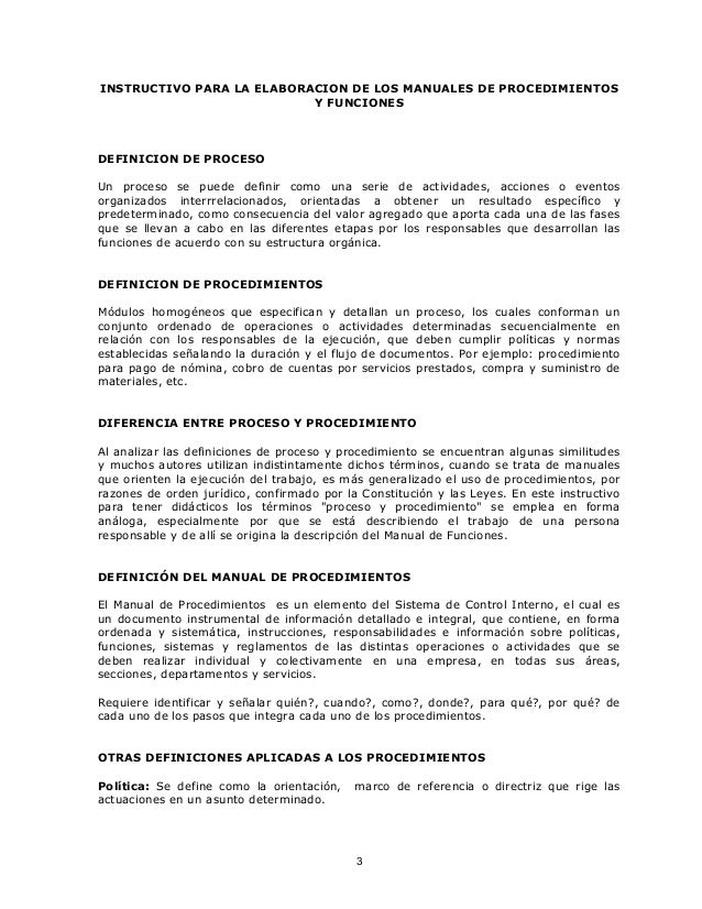 Instructivo for Manual de funciones y procedimientos de un restaurante