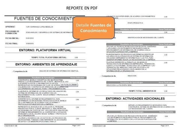 REPORTE EN PDF  Detalle Fuentes de Conocimiento