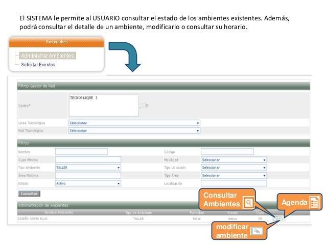 CONSULTAR AMBIENTE permite al aprendiz consultar toda la información del ambiente, además de los horarios de disponibilida...