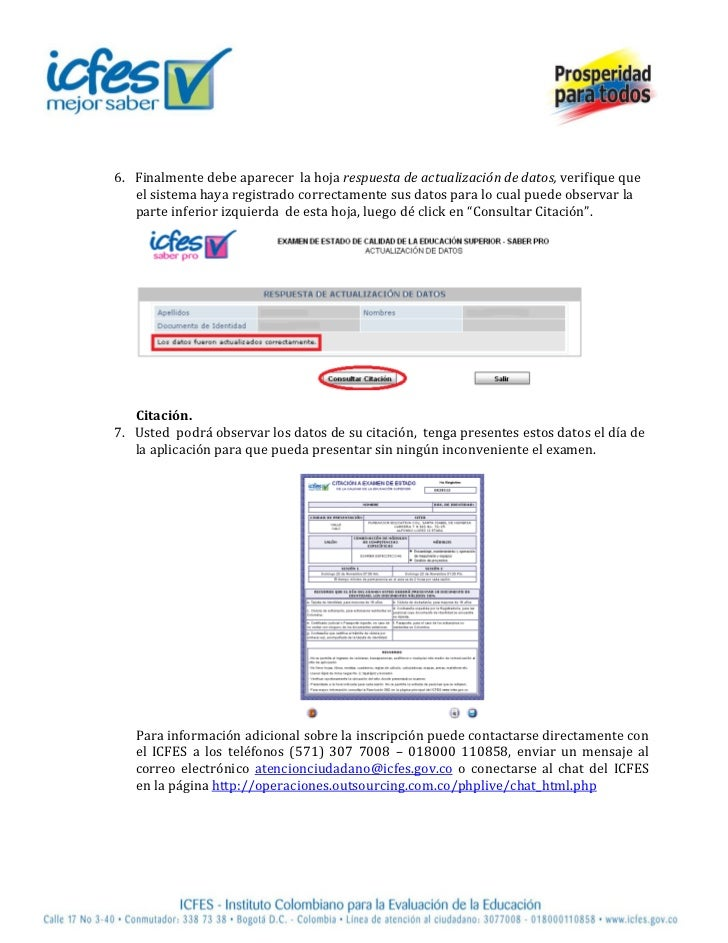 Instructivo citación icfes saaber pro 2012