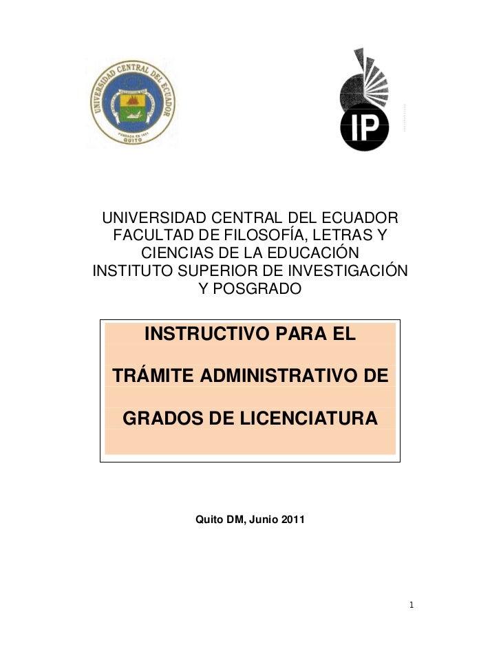 UNIVERSIDAD CENTRAL DEL ECUADOR   FACULTAD DE FILOSOFÍA, LETRAS Y      CIENCIAS DE LA EDUCACIÓNINSTITUTO SUPERIOR DE INVES...