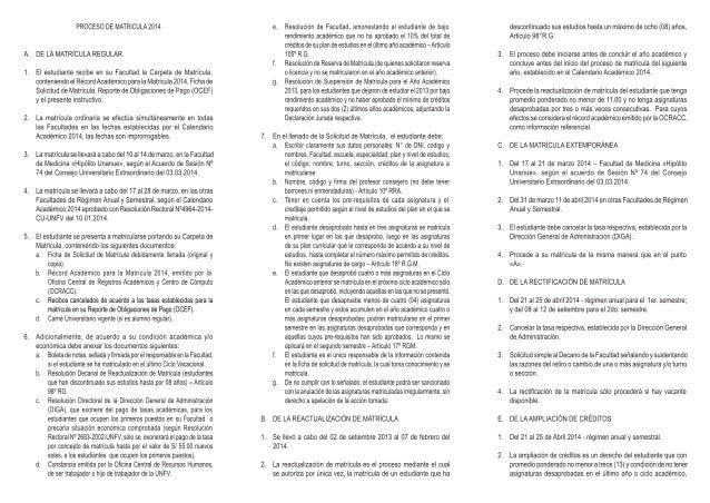 INSTRUCTIVO PARA EL ESTUDIANTE UNFV - MATRÍCULA 2014
