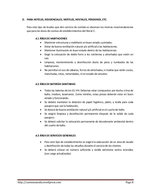 Instructivo de normas m nimas de salubridad minsalud for Metodos de limpieza y desinfeccion en el area de cocina