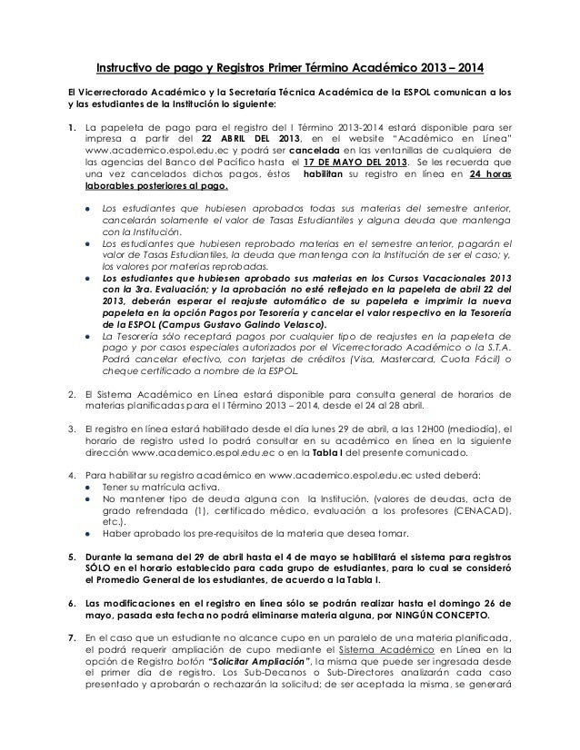 Instructivo de pago y Registros Primer Término Académico 2013 – 2014El Vicerrectorado Académico y la Secretaría Técnica Ac...