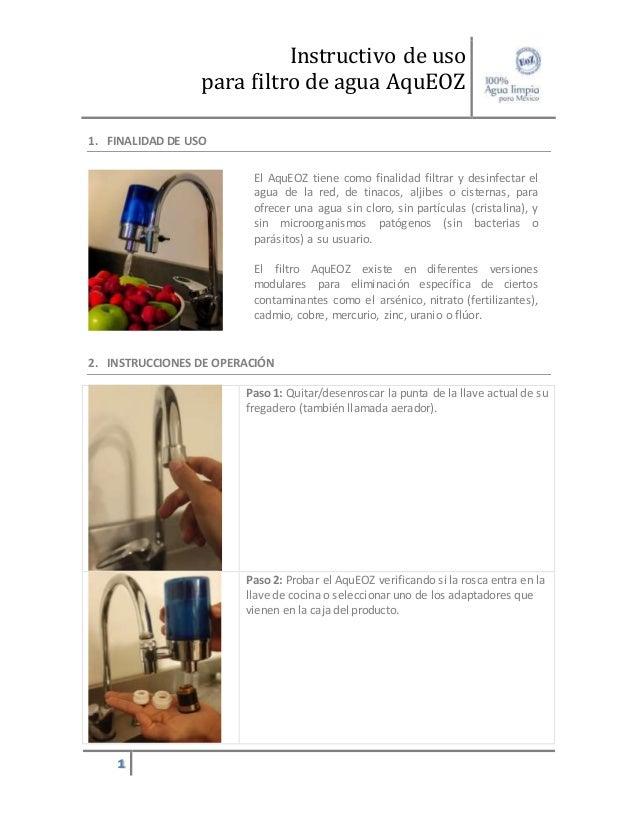 Manual de uso filtro de agua para cocina aqueoz for Manual de tecnicas de cocina