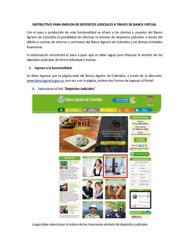 INSTRUCTIVO PARA EMISION DE DEPOSITOS JUDICIALES A TRAVES DE BANCA VIRTUAL Con el paso a producción de esta funcionalidad ...