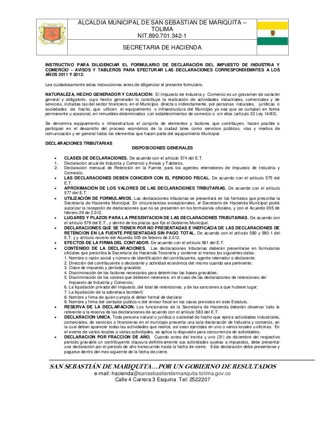 ALCALDIA MUNICIPAL DE SAN SEBASTIAN DE MARIQUITA –                                       TOLIMA                           ...