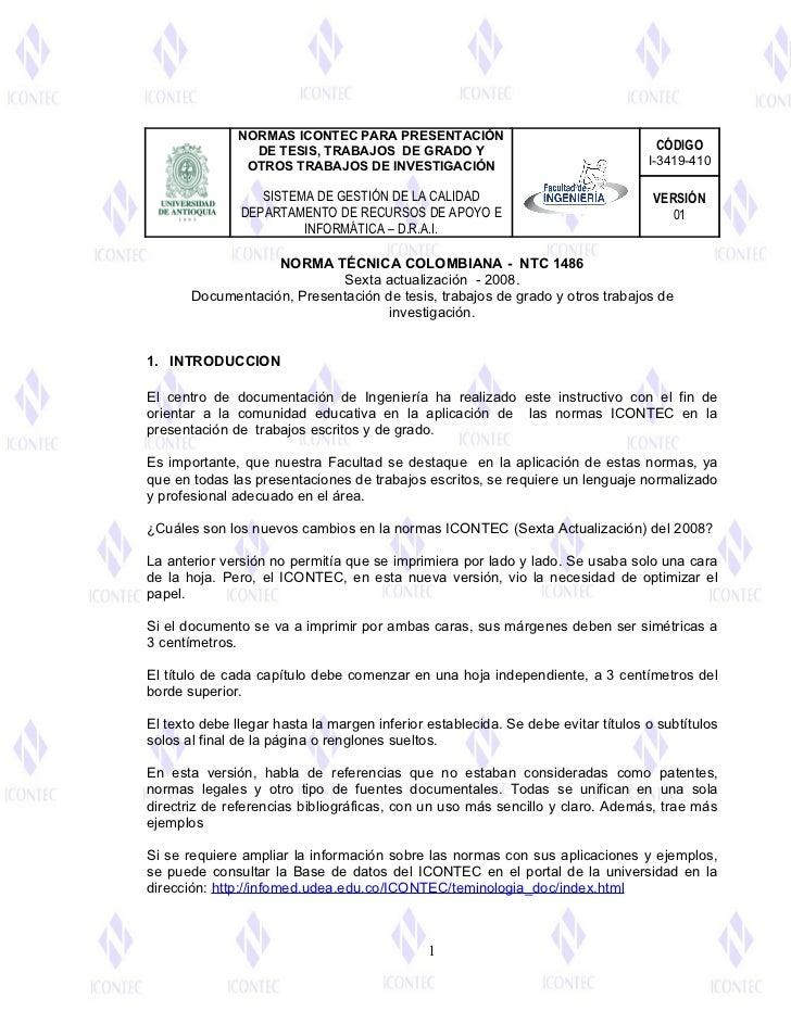 NORMAS ICONTEC PARA PRESENTACIÓN                 DE TESIS, TRABAJOS DE GRADO Y                                     CÓDIGO ...