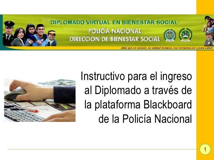 Instructivo para el ingreso al Diplomado a través de la plataforma Blackboard     de la Policía Nacional                  ...
