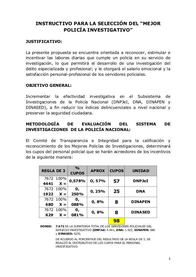 """1  INSTRUCTIVO PARA LA SELECCIÓN DEL """"MEJOR POLICÍA INVESTIGATIVO""""  JUSTIFICATIVO:  La presente propuesta se encuentra ori..."""