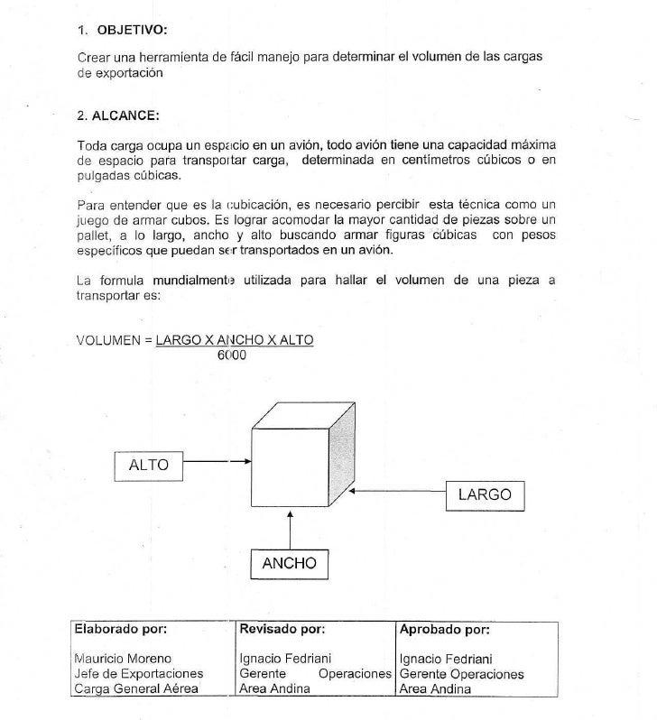 1. OBJETIVO:  Crear una herramienta de fácil manejo para determinar el volumen de las cargas de exportación   2. ALCANCE: ...