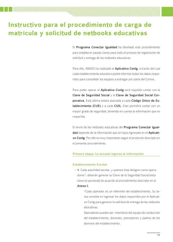 Instructivo para el procedimiento de carga dematrícula y solicitud de netbooks educativas                    El Programa C...