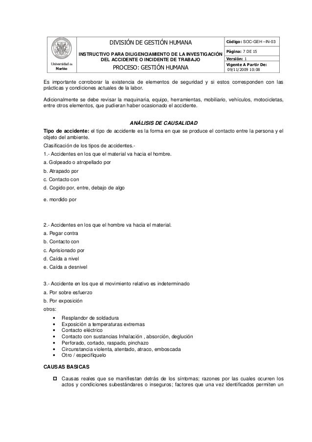 instructivo para investigar los accidentes de trabajo