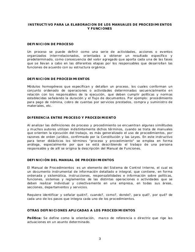 INSTRUCTIVO PARA LA ELABORACION DE LOS MANUALES DE PROCEDIMIENTOS                           Y FUNCIONESDEFINICION DE PROCE...