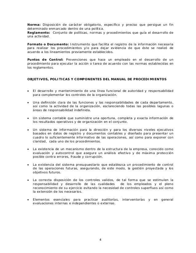 Instructivo para la elaboracion de los manuales de for Manual de procedimientos de una empresa de alimentos