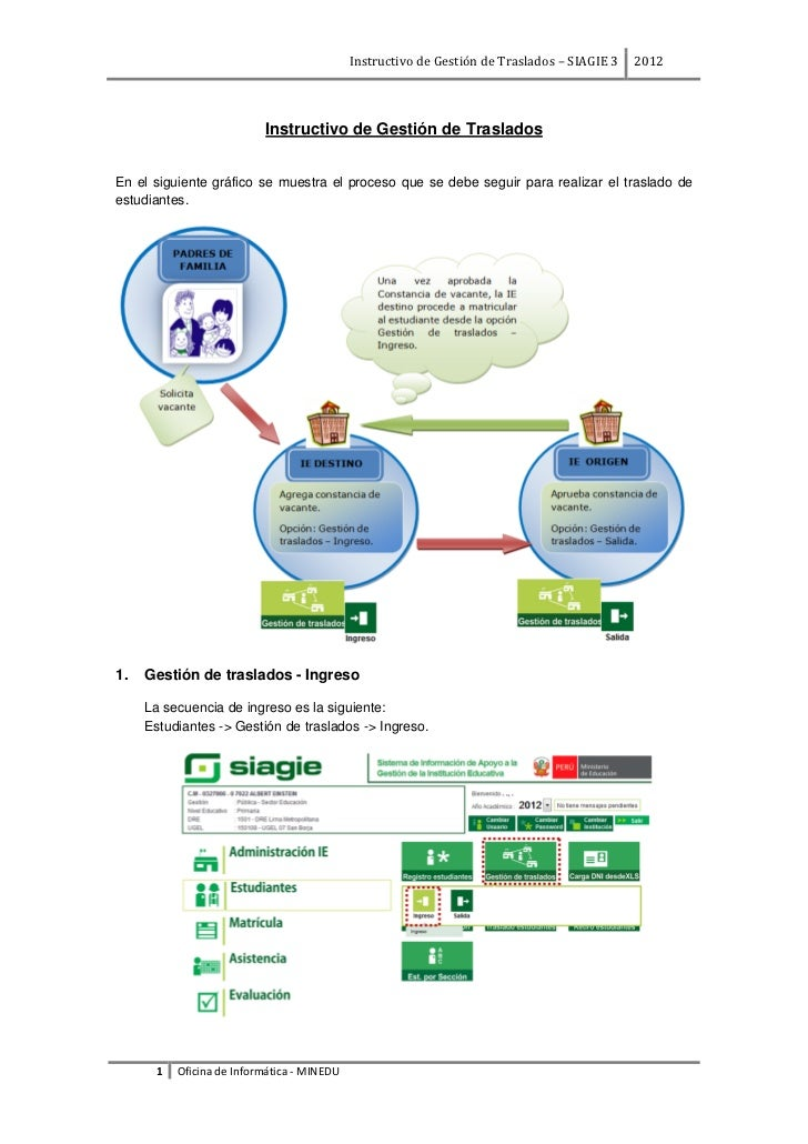 Instructivo de Gestión de Traslados – SIAGIE 3   2012                          Instructivo de Gestión de TrasladosEn el si...