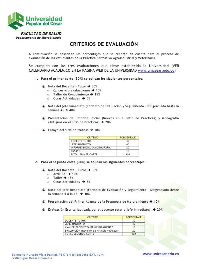 FACULTAD DE SALUD   Departamento de Microbiología                                          CRITERIOS DE EVALUACIÓN        ...