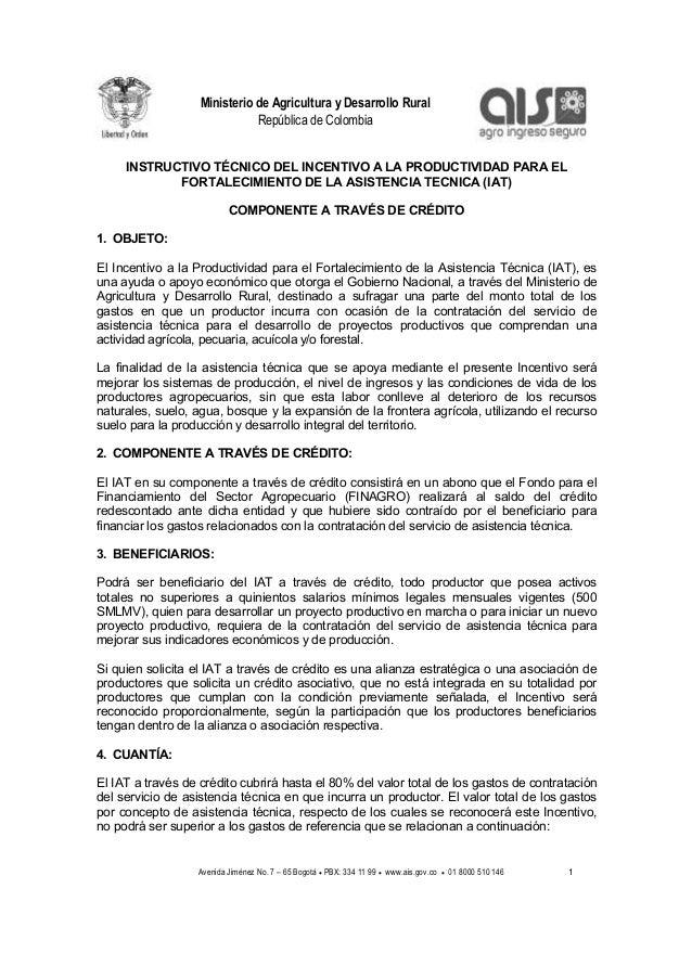 Ministerio de Agricultura y Desarrollo Rural                              República de Colombia     INSTRUCTIVO TÉCNICO DE...