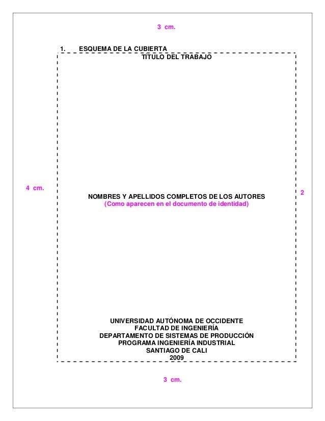 1. ESQUEMA DE LA CUBIERTA TÍTULO DEL TRABAJO NOMBRES Y APELLIDOS COMPLETOS DE LOS AUTORES (Como aparecen en el documento d...