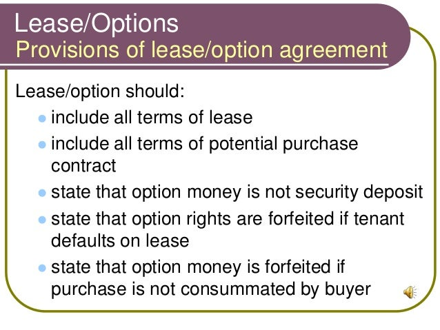 RELE 1319 Chapter 13 – Rent with Option to Buy Contract