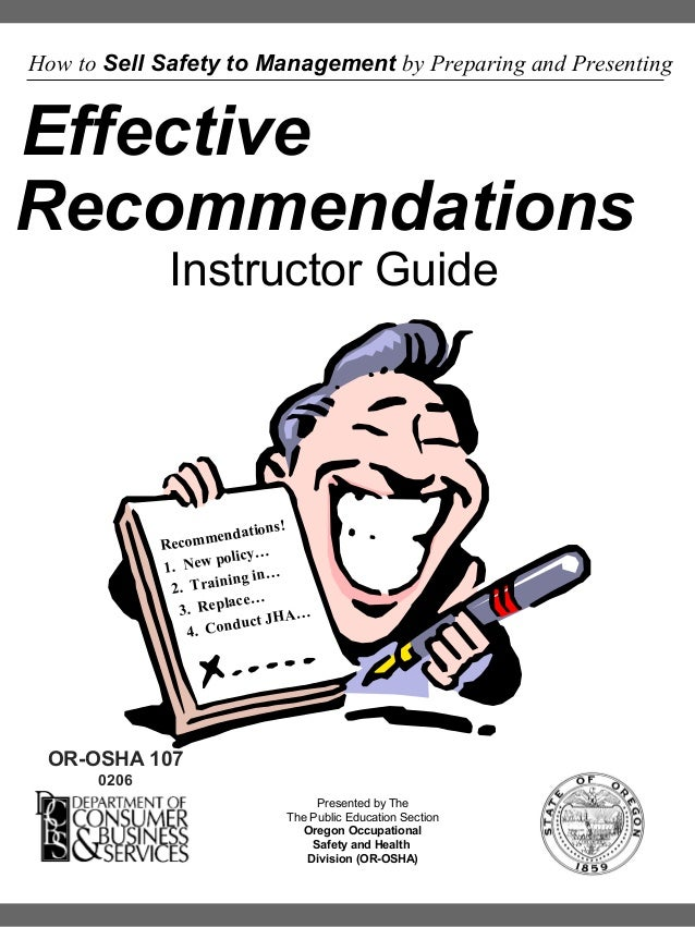 How to Sell Safety to Management by Preparing and Presenting  Effective Recommendations Instructor Guide  ns ! endatio Rec...