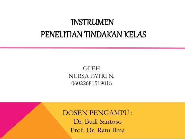 OLEH NURSA FATRI N. 06022681519018 DOSEN PENGAMPU : Dr. Budi Santoso Prof. Dr. Ratu Ilma