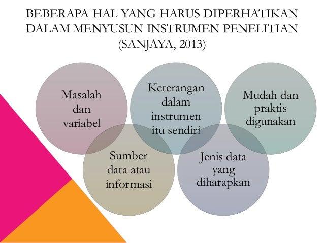 BEBERAPA HAL YANG HARUS DIPERHATIKAN DALAM MENYUSUN INSTRUMEN PENELITIAN (SANJAYA, 2013) Masalah dan variabel Sumber data ...