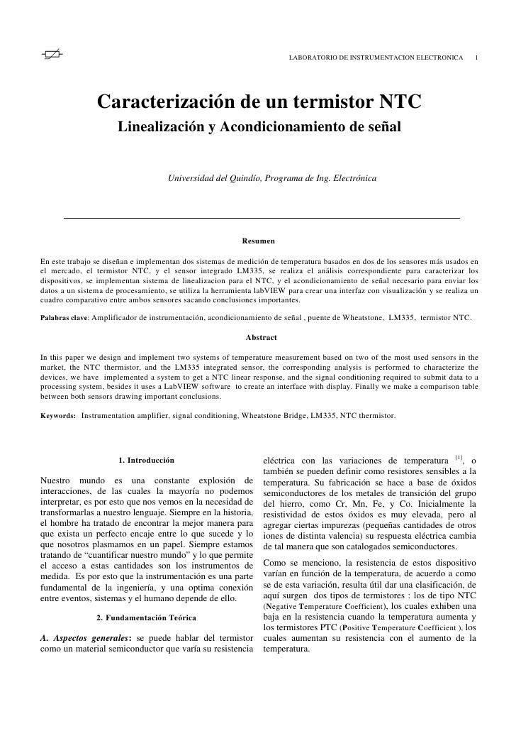 LABORATORIO DE INSTRUMENTACION ELECTRONICA            1                Caracterización de un termistor NTC                ...