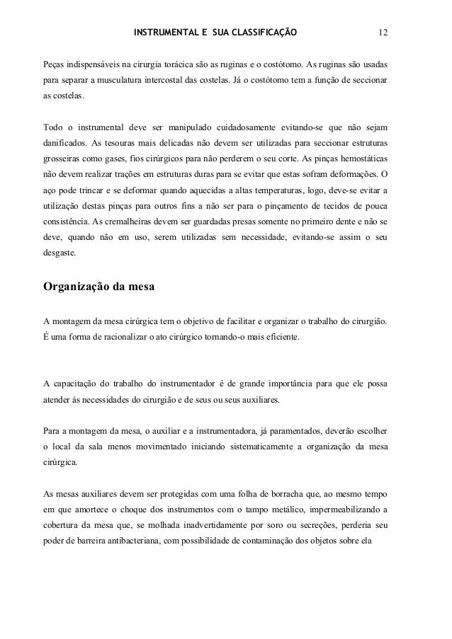 INSTRUMENTAL E SUA CLASSIFICAÇÃO                                   12Peças indispensáveis na cirurgia torácica são as rugi...