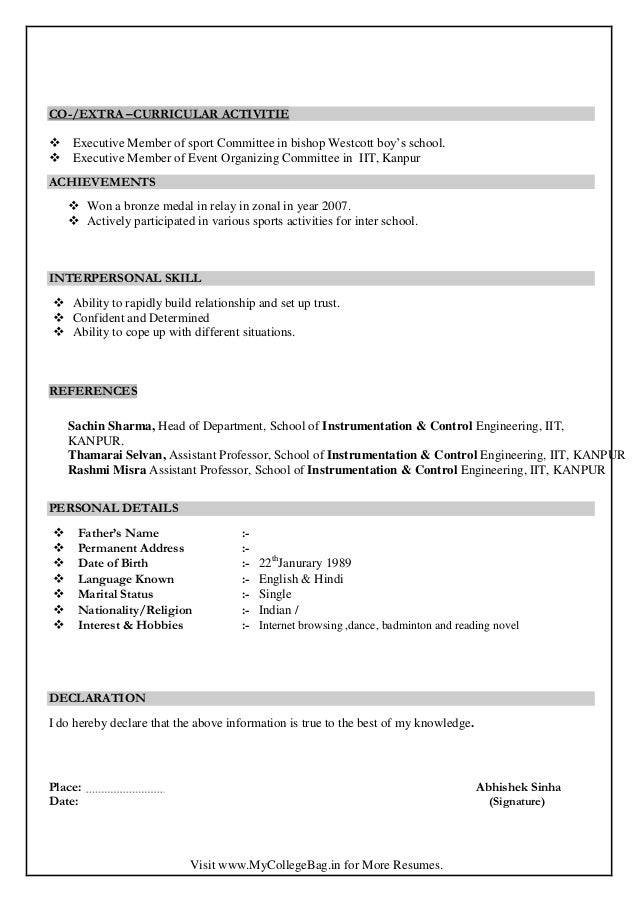 resume format for assistant professor in india