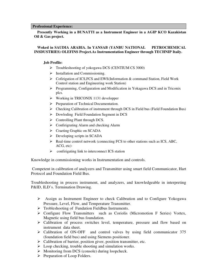 Instrumentation engineer resume for oil and gas