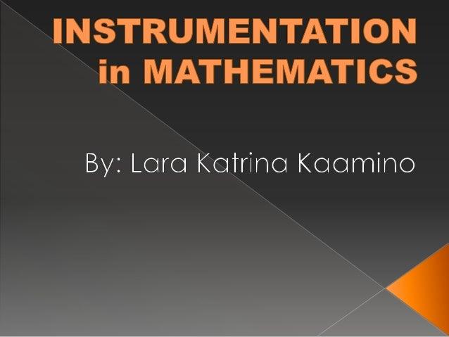 Instrumentation In Mathematics Instructional Materials
