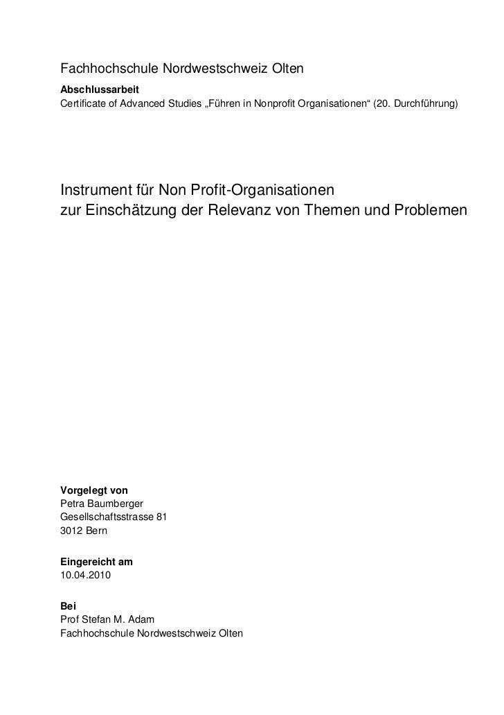 """Fachhochschule Nordwestschweiz OltenAbschlussarbeitCertificate of Advanced Studies """"Führen in Nonprofit Organisationen"""" (2..."""