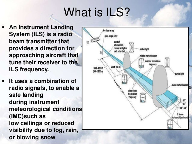 instrument landing system How does ils (instrument landing system) work i know it provides guidance to the runway by two signals, one modulated at 90 hz, the other at 150 hz, but how the.