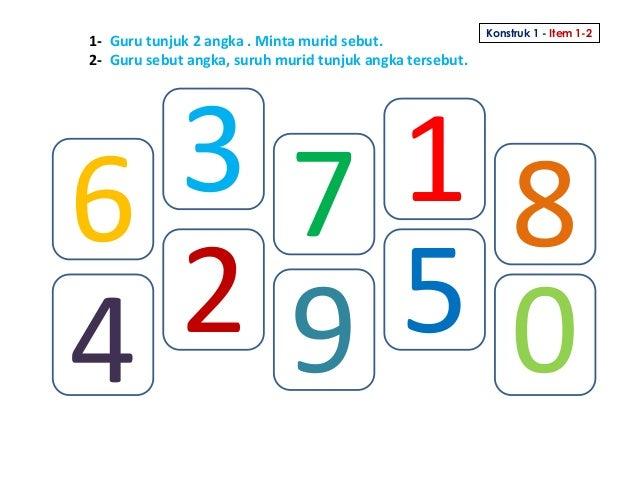 1- Guru tunjuk 2 angka . Minta murid sebut. 2- Guru sebut angka, suruh murid tunjuk angka tersebut. Konstruk 1 - Item 1-2 ...