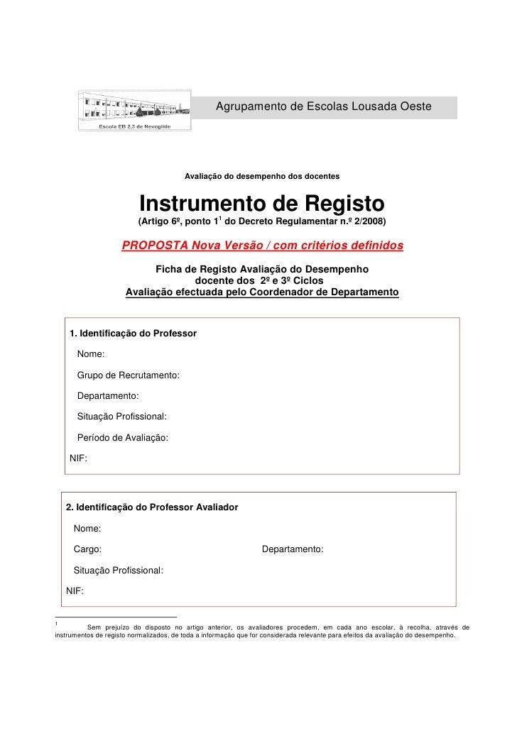 Agrupamento de Escolas Lousada Oeste                                             Avaliação do desempenho dos docentes     ...