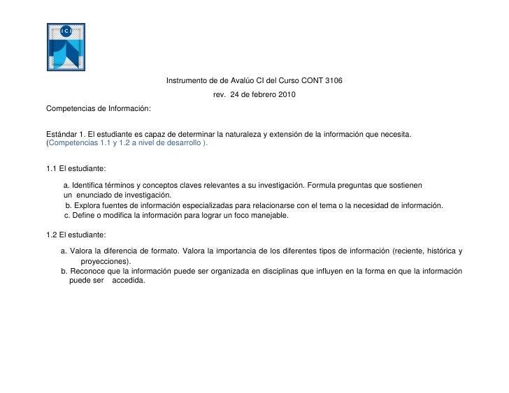 Instrumento de de Avalúo CI del Curso CONT 3106                                                  rev. 24 de febrero 2010 C...