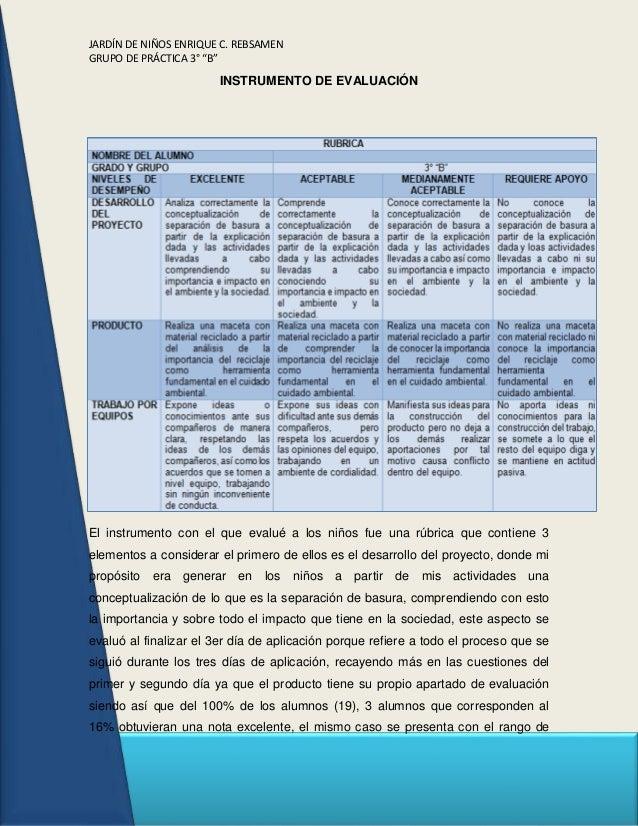"""JARDÍN DE NIÑOS ENRIQUE C. REBSAMEN GRUPO DE PRÁCTICA 3° """"B"""" INSTRUMENTO DE EVALUACIÓN El instrumento con el que evalué a ..."""