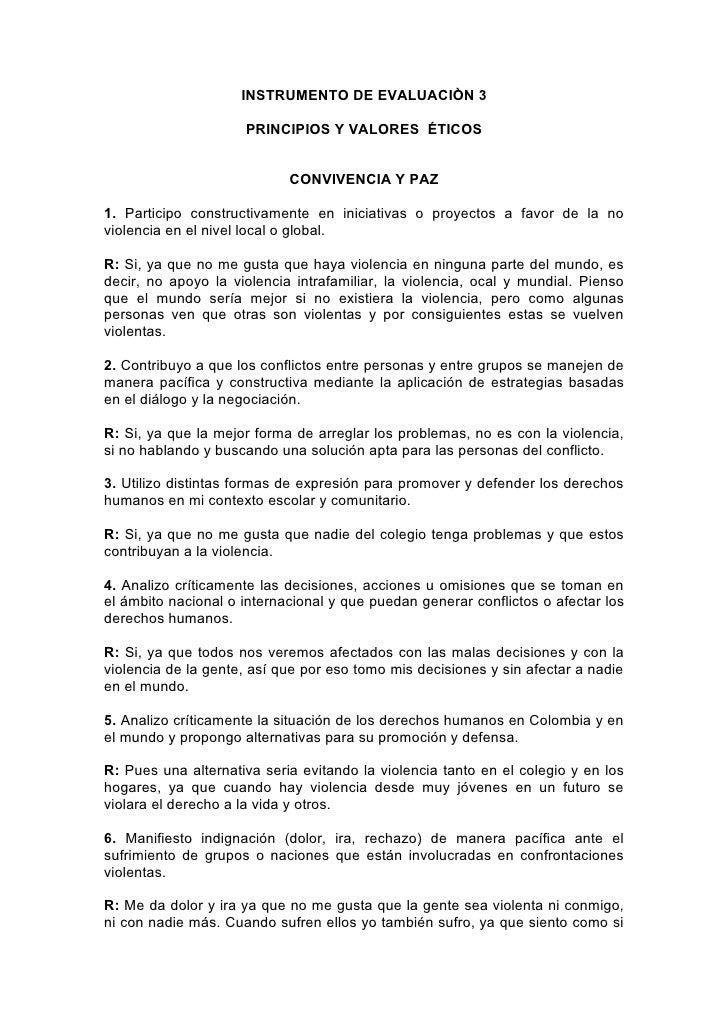 INSTRUMENTO DE EVALUACIÒN 3                       PRINCIPIOS Y VALORES ÉTICOS                               CONVIVENCIA Y ...