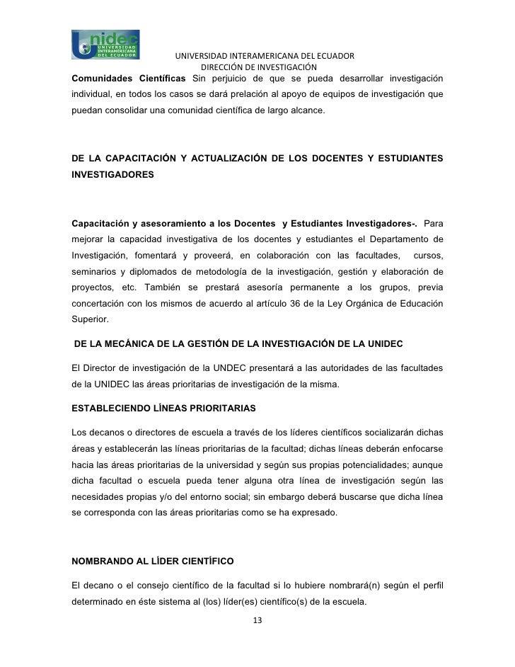 UNIVERSIDAD INTERAMERICANA DEL ECUADOR                          DIRECCIÓN DE INVESTIGACIÓNComunidades Científicas Sin perj...