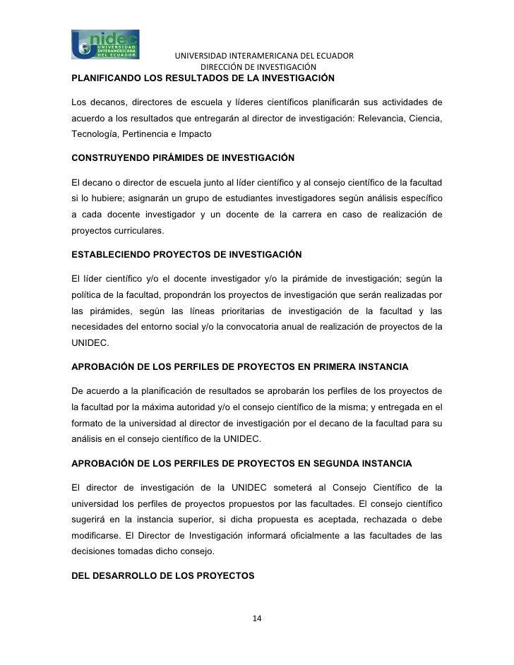 UNIVERSIDAD INTERAMERICANA DEL ECUADOR                       DIRECCIÓN DE INVESTIGACIÓNPLANIFICANDO LOS RESULTADOS DE LA I...