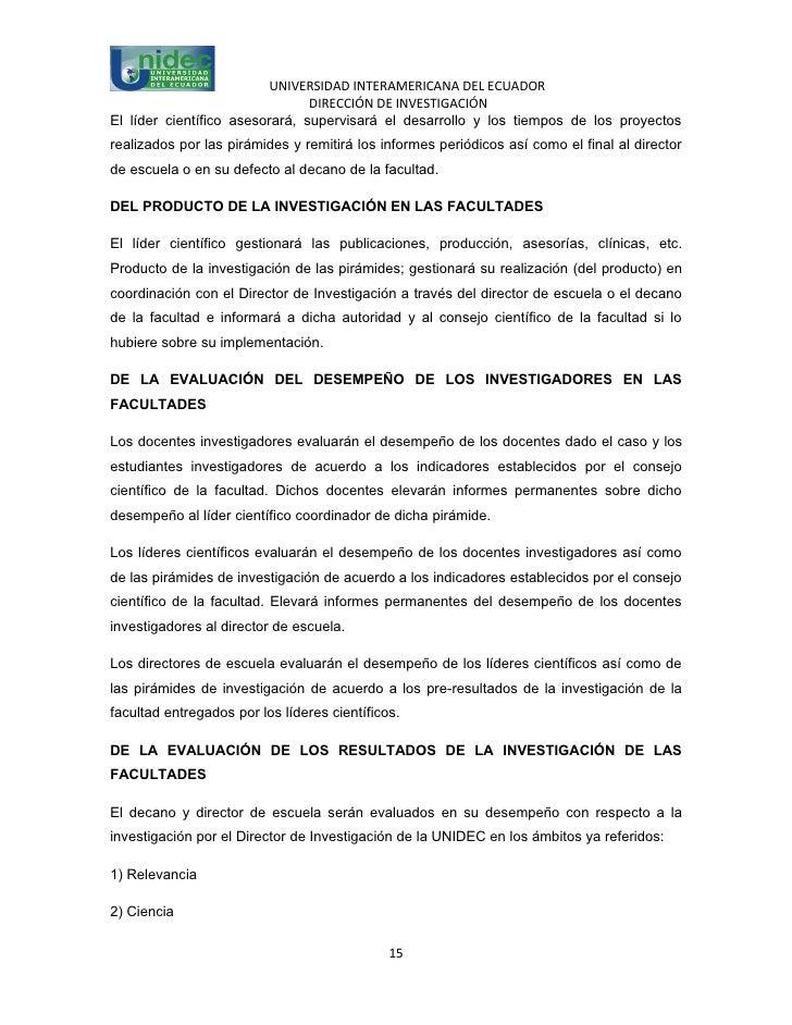 UNIVERSIDAD INTERAMERICANA DEL ECUADOR                                DIRECCIÓN DE INVESTIGACIÓNEl líder científico asesor...