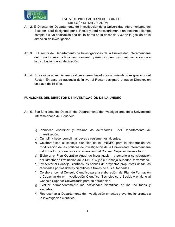 UNIVERSIDAD INTERAMERICANA DEL ECUADOR                                 DIRECCIÓN DE INVESTIGACIÓNArt. 2. El Director del D...