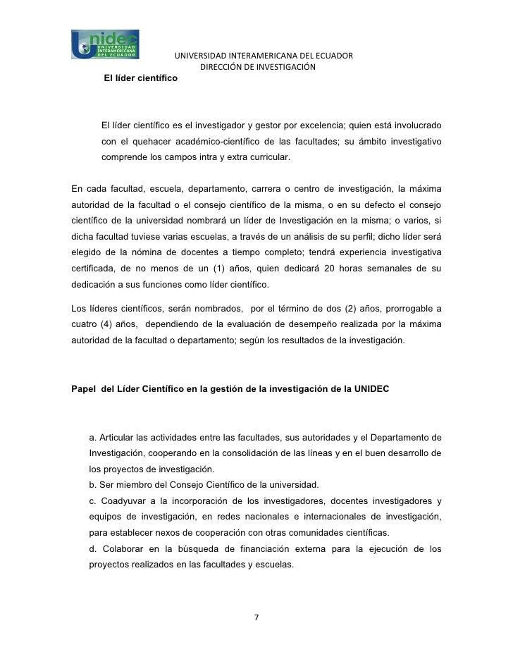 UNIVERSIDAD INTERAMERICANA DEL ECUADOR                               DIRECCIÓN DE INVESTIGACIÓN        El líder científico...