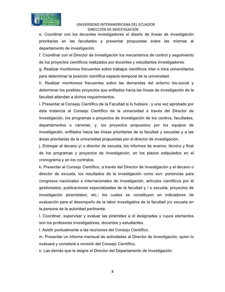 UNIVERSIDAD INTERAMERICANA DEL ECUADOR                         DIRECCIÓN DE INVESTIGACIÓNe. Coordinar con los docentes inv...
