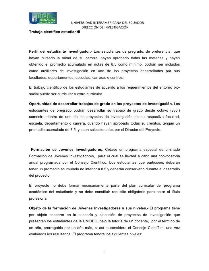 UNIVERSIDAD INTERAMERICANA DEL ECUADOR                               DIRECCIÓN DE INVESTIGACIÓNTrabajo científico estudian...