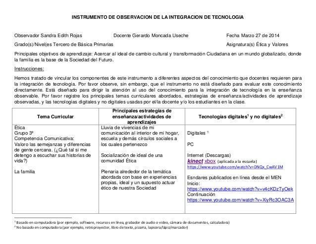 INSTRUMENTO DE OBSERVACION DE LA INTEGRACION DE TECNOLOGIA Observador Sandra Edith Rojas Docente Gerardo Moncada Useche Fe...